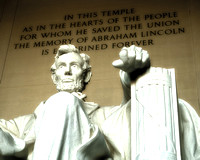 Fine art black and white photograph of Lincoln taken at Lincoln Memorial in DC