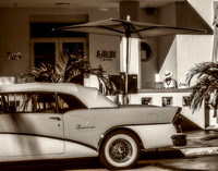 Fine art black and white photograph of classic car taken at South Beach Miami FL